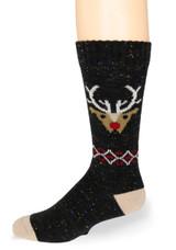 Reindeer Holiday Crew Alpaca Wool Socks