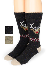 Reindeer Holiday Crew Alpaca Wool Socks
