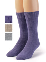 Women's Baby Alpaca Wool Wide Ribbed Lounge & Bed Socks Lavender Purple Main Thumbnail showing color options