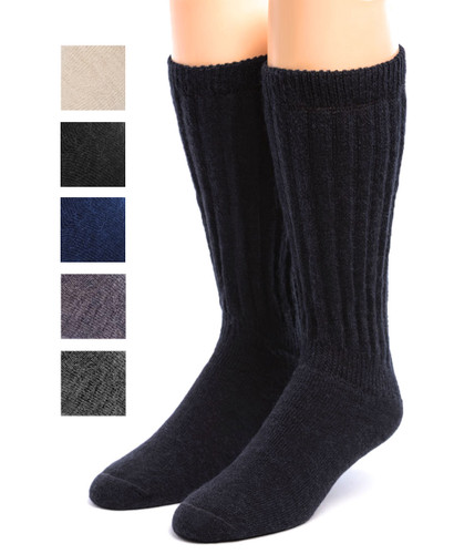 Wide Calf Terry Lined Alpaca Socks Front Showing color options