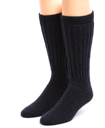Wide Calf Terry Lined Alpaca Socks Front Black