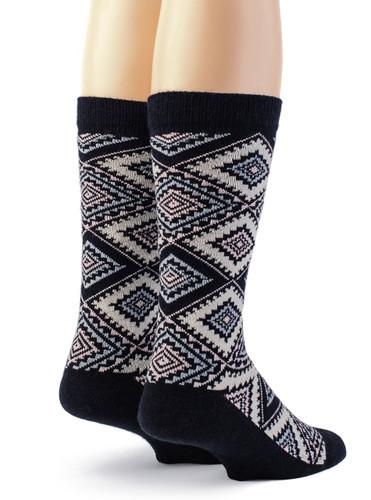 Women's Nordic Argyle Geometric Socks Back View