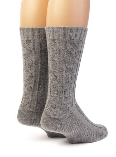 Source of Envy -  Women's Cable Alpaca Wool Socks Back View
