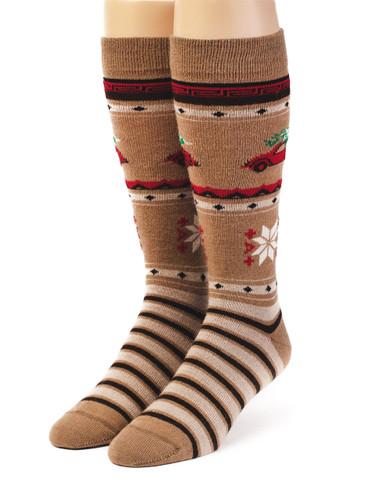 VW Christmas Tree Alpaca Wool Socks - Unisex Front View