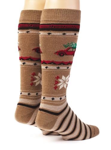 VW Christmas Tree Alpaca Wool Socks - Unisex Back View