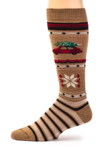 VW Christmas Tree Alpaca Wool Socks - Unisex Side View