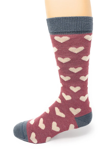 Women's Heart Murmur Baby Alpaca and Bamboo Dress Socks Side View
