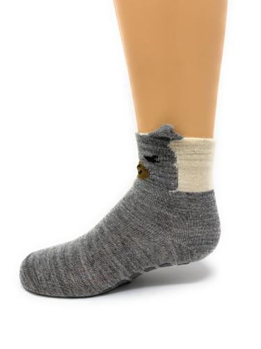 Peek-A-Boo Paca - Kid's Baby Alpaca Non-Skid Socks Side View