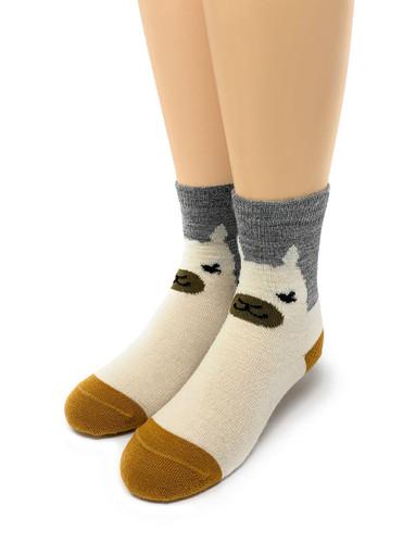 Happy Alpaca Family- Non-Skid Alpaca Socks for Children Kids Sock Toe