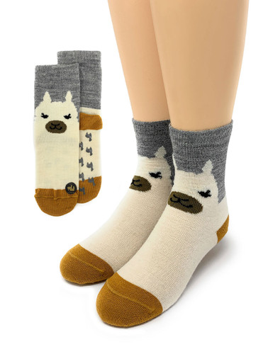 Happy Alpaca Family- Non-Skid Alpaca Socks for Children Kids sock view Main