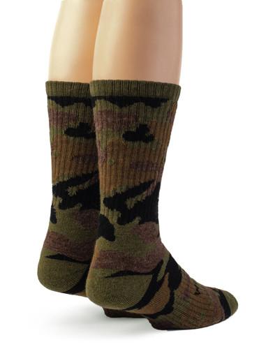 Sylvan Camouflage Alpaca Wool Hunting Socks - Unisex Back View