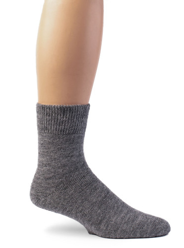 Outdoor Terry Lined Ankle Alpaca Wool Socks - Unisex Side View
