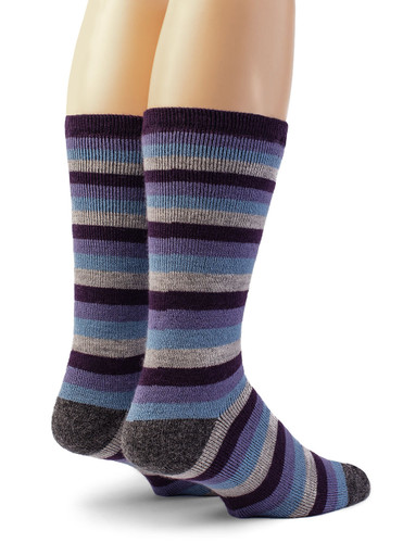 Lifesaver - Multi Colored Terry Lined Crew Outdoor Alpaca  Wool Socks - Back View