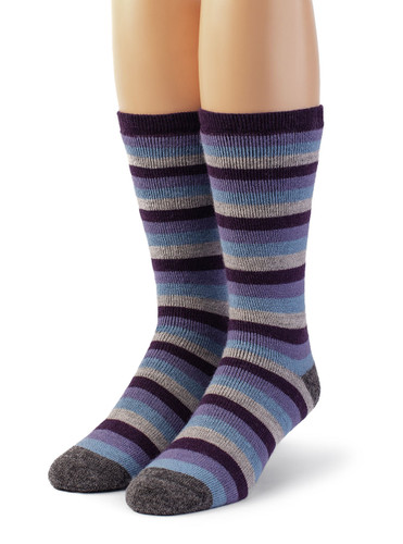 Lifesaver - Multi Colored Terry Lined Crew Outdoor Alpaca  Wool Socks - Front View