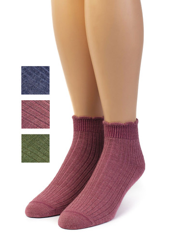 Scalloped Edge Baby Alpaca & Bamboo Socks - Solid Main Thumbnail with color options