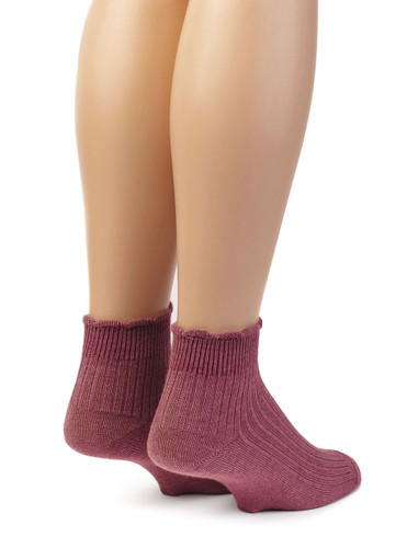 Scalloped Edge Baby Alpaca & Bamboo Socks - Solid In Dusty Rose - Back View