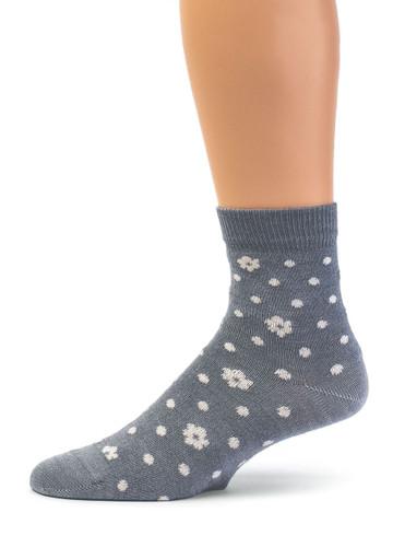 Petals & Dots - Baby Alpaca & Bamboo Bootie / Dress Socks In Steel Grey Blue / Off White - Side View