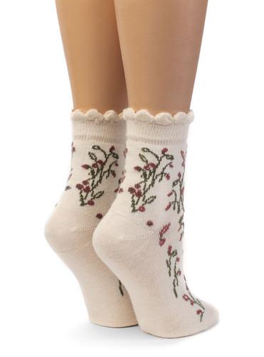 Women's In A Garden - Baby Alpaca & Bamboo Bootie / Dress Socks Back View