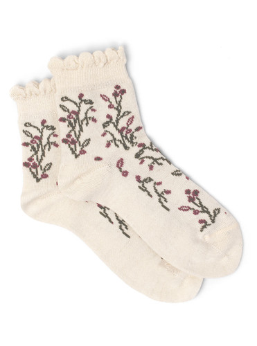 Women's In A Garden - Baby Alpaca & Bamboo Bootie / Dress Socks Flat View