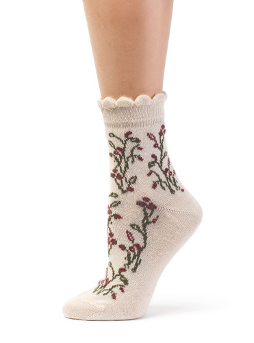 Women's In A Garden - Baby Alpaca & Bamboo Bootie / Dress Socks Side View