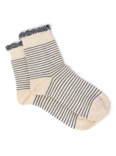Women's Breton Striped Baby Alpaca & Bamboo Bootie / Dress Socks Flat View
