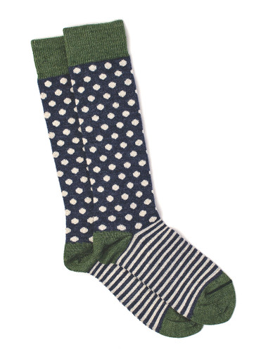 Celestial Dots & Stripes Baby Alpaca and Bamboo Dress Sock Flat View