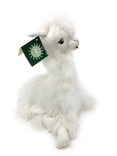Suri Alpaca Plush Pillow Soft Stuffed Animal Made from real alpaca fur - White