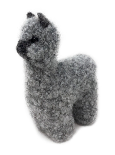 Alpaca Wool Needle Felted Grey Alpaca Figure by Warrior Alpaca Socks