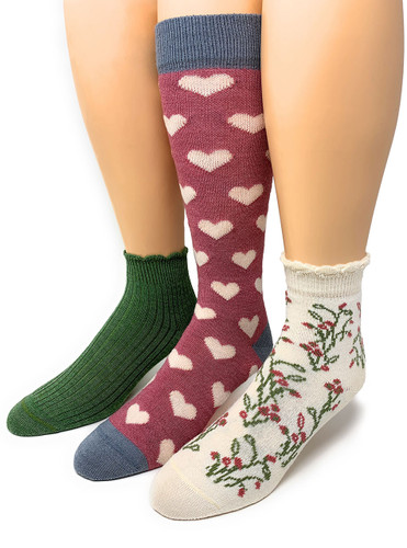 Warrior Alpaca Socks Women's Special Occasion Heart Valentine's Day Gift Box on feet.