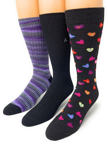 Warrior Alpaca Socks Sweetheart Candy Hearts Gift Box styles shown on feet.