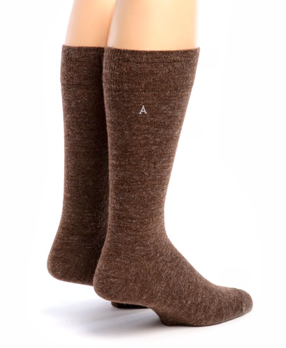 Men's Trouser Socks - Alpaca Wool Rear View Walnut