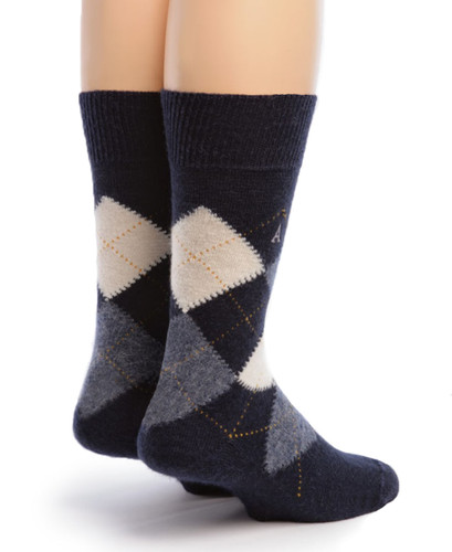 Baby Alpaca Argyle Socks Back Blue