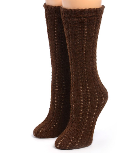 Reversible Hand Knit 100% Alpaca Wool Socks Front View