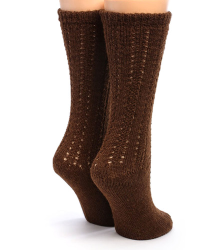 Reversible Hand Knit 100% Alpaca Wool Socks Back View