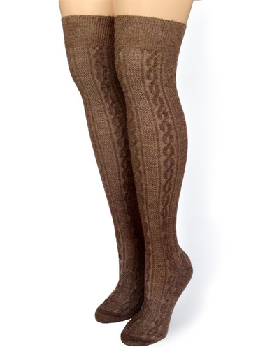 Cable Sweater Thigh High Fashion Socks - Front