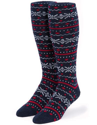 Fair Isle Knee High Fashion Alpaca Wool Socks - Front