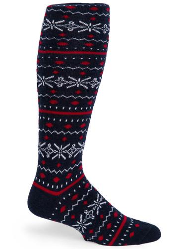 Fair Isle Knee High Fashion Alpaca Wool Socks - Side
