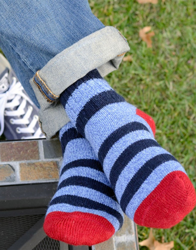 Old School Striped Socks - On Model