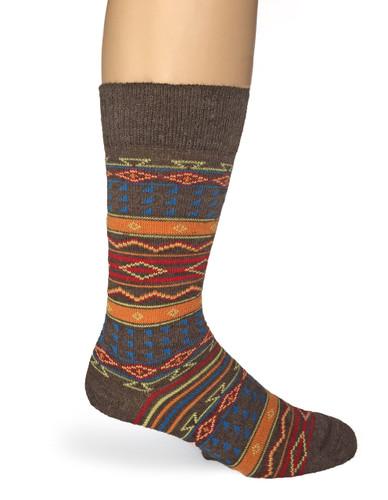 Colorful Patterend Tribal Alpaca Wool Socks  Side View
