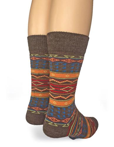 Colorful Patterend Tribal Alpaca Wool Socks  Back View