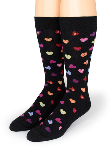 Candy Heart LOVE - Alpaca Wool Socks Front View