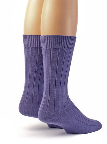 Women's Baby Alpaca Wool Wide Ribbed Lounge & Bed Socks Lavender Purple Back View