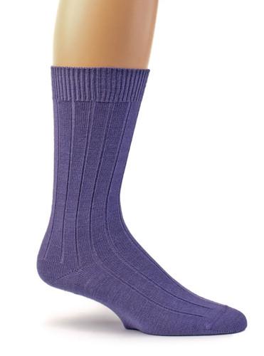 Women's Baby Alpaca Wool Wide Ribbed Lounge & Bed Socks Lavender Purple Side View