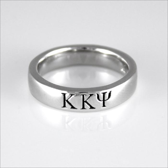 ΚΚΨ Sterling Silver Greek Letter Ring (Thin Band)