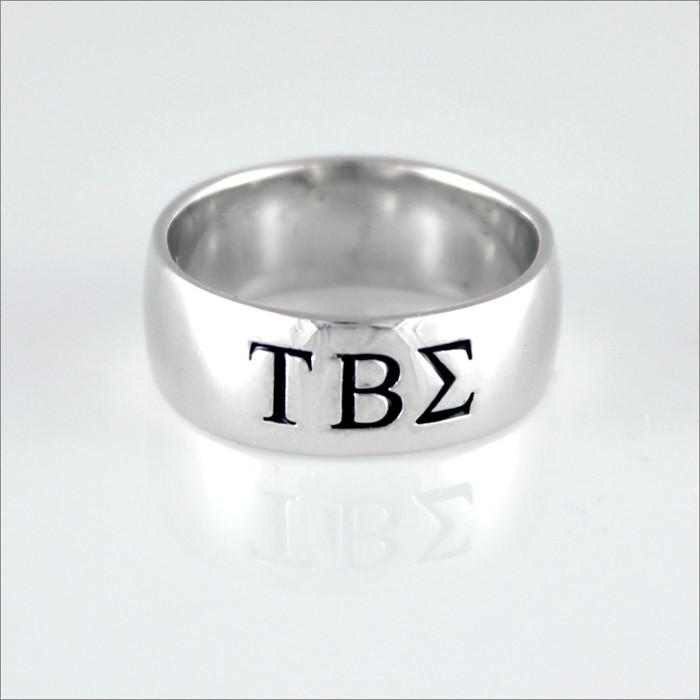 ΤΒΣ Sterling Silver Greek Letter Ring (Wide Band)