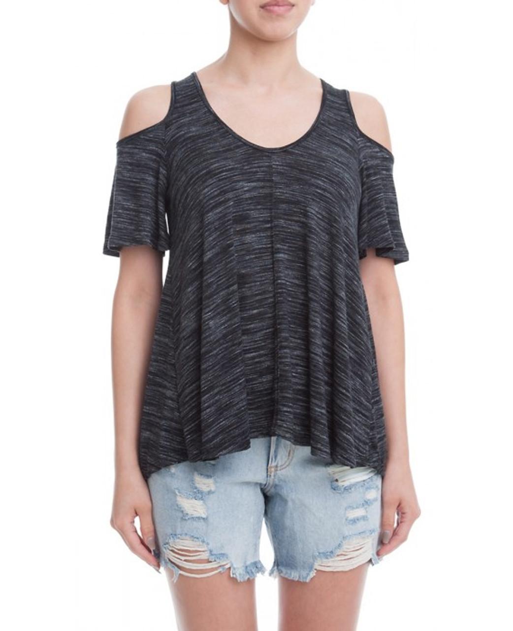 53a7f56e0f2e6 Charcoal Short Sleeve Open Shoulder Top - Longhorn Fashions