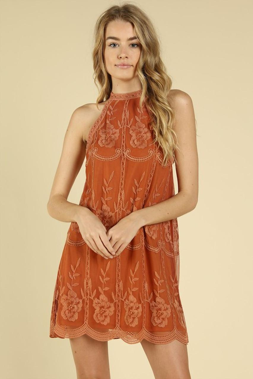 Orange Dress Lace