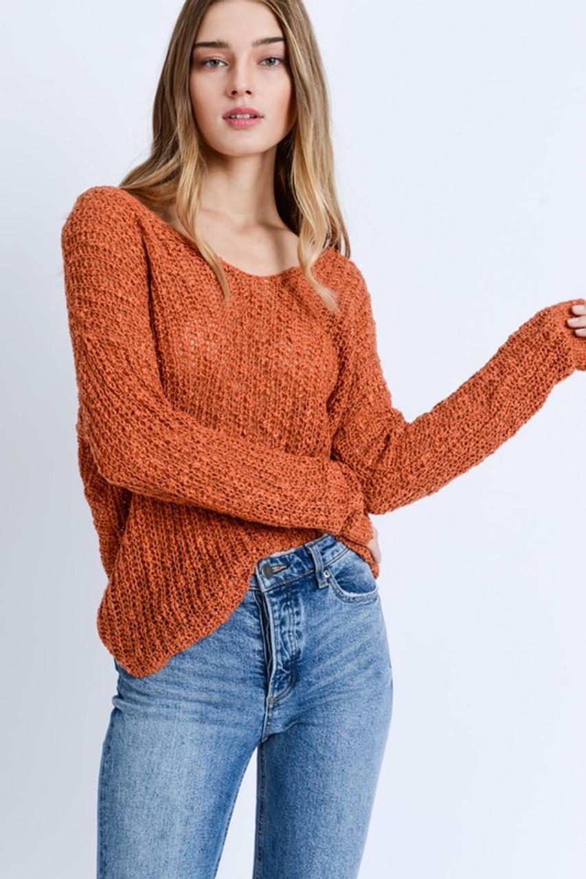 7bc0e7f2c Burnt Orange Sweater Twist Back - Longhorn Fashions