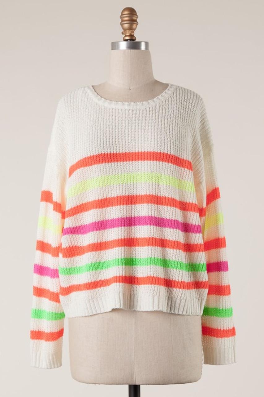 5ff9c55fb2f Neon Stripe Sweater - Longhorn Fashions