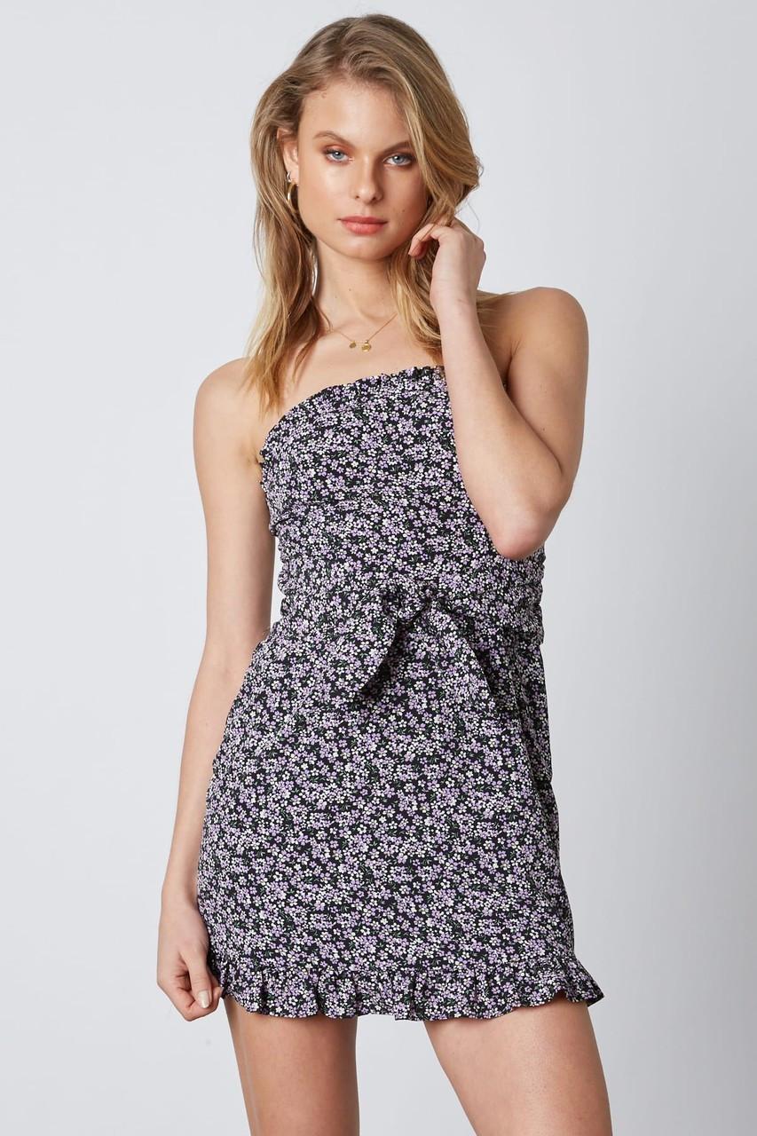 71e1060ac08d Black Strapless Floral Print Dress - Longhorn Fashions